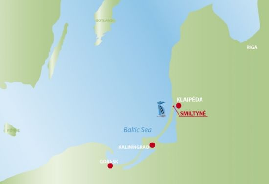 Map of Lithuania, marking Smiltynė on the Curonian Spit