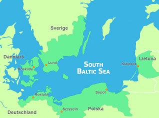 Map of the South Baltic Sea